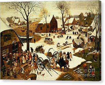 Census At Bethlehem Canvas Print by Pieter the Elder Bruegel