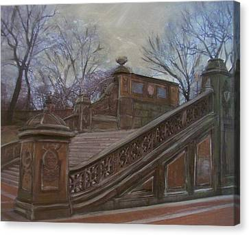 Central Park Bethesda Staircase Canvas Print by Anita Burgermeister