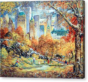 Central Park Fall Canvas Print by Kamil Kubik