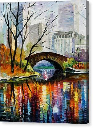Central Park Canvas Print by Leonid Afremov