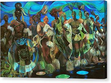 Ceremonial Dance Of The Mighty Zulus Canvas Print by Lee Ransaw