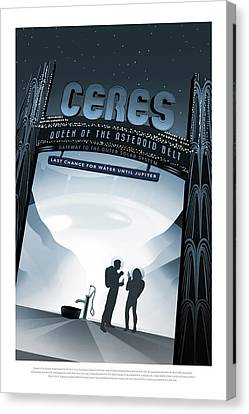 Ceres Queen Of The Asteroid Belt - Vintage Nasa Poster Canvas Print by Mark Kiver