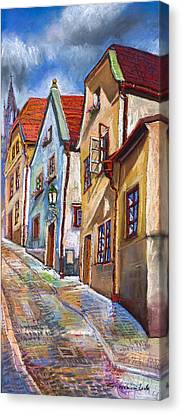 Cesky Krumlov Old Street 2 Canvas Print by Yuriy  Shevchuk