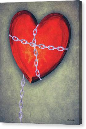 Chained Heart Canvas Print by Jeff Kolker