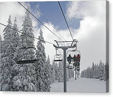 Chairlift At Vail Resort - Colorado Canvas Print by Brendan Reals