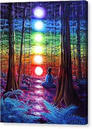 Chakra Meditation In The Redwoods Canvas Print by Laura Iverson