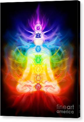 Chakras And Energy Flow On Human Body Canvas Print by Oleksiy Maksymenko
