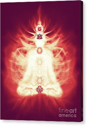 Chakras Symbols And Energy Flow On Human Body Canvas Print by Oleksiy Maksymenko