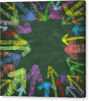 Chalk Drawing Colorful Arrows Canvas Print by Setsiri Silapasuwanchai