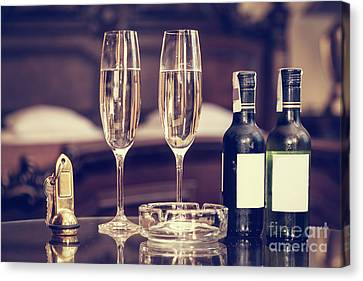 Champagne, Glasses, Antique Keys. Luxury Hotel Apartment, Room Service Canvas Print by Michal Bednarek