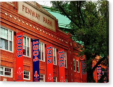 Championship Banners Of Fenway Canvas Print by Mountain Dreams