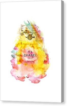Chanel No. 5 Watercolor Poster 4 Transparent Image - By Diana Van Canvas Print by Diana Van