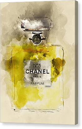 Chanel No. 5 Watercolor Poster 5 - By Diana Van Canvas Print by Diana Van