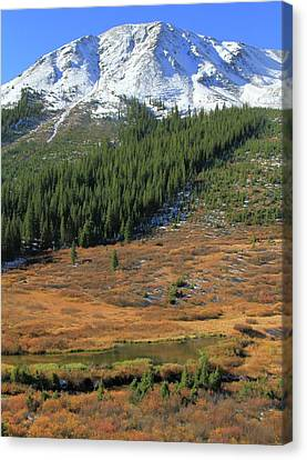 Changing Of Seasons In The Rockies Canvas Print by Dan Sproul