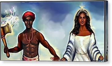 Chango And Yemaya Together Canvas Print by Carmen Cordova