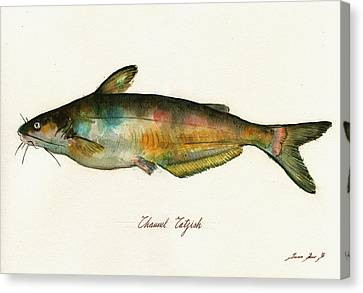 Channel Catfish Fish Animal Watercolor Painting Canvas Print by Juan  Bosco