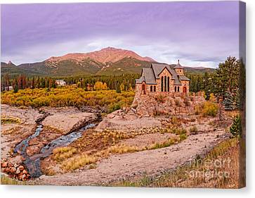 Chapel On The Rock And Long's Peak In The Fall - Peak To Peak Highway Estes Park Colorado Canvas Print by Silvio Ligutti