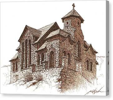 Chapel On The Rock Canvas Print by Larry Prestwich