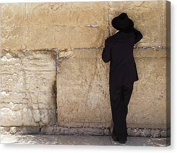 Praying At The  Wailing Wall, Jerusalem Canvas Print by Yoel Koskas
