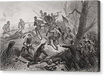 Charge On Fort Donelson Tennessee 1862 Canvas Print by Vintage Design Pics