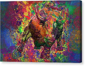 Charging Bull Canvas Print by Jack Zulli