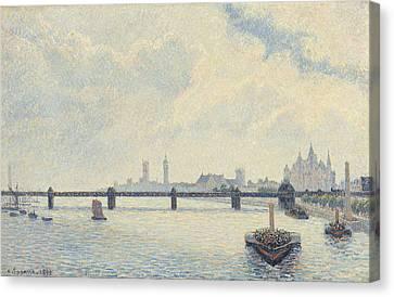 Charing Cross Bridge - London Canvas Print by Camille Pissarro