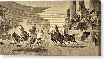 Chariot Race At Roman Games. After A Canvas Print by Vintage Design Pics