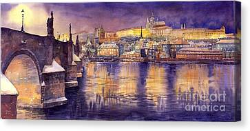 Charles Bridge And Prague Castle With The Vltava River Canvas Print by Yuriy  Shevchuk