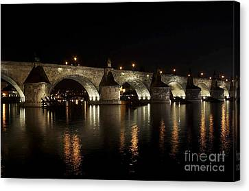 Charles Bridge At Night Canvas Print by Michal Boubin