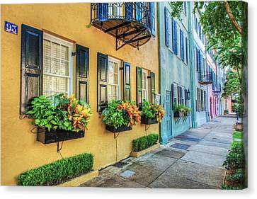 Charleston's Rainbow Row Canvas Print by Drew Castelhano