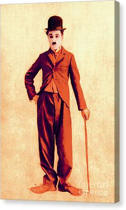 Charlie Chaplin The Tramp 20130216p68 Canvas Print by Wingsdomain Art and Photography