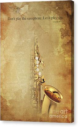 Charlie Parker Saxophone Brown Vintage Poster And Quote, Gift For Musicians Canvas Print by Pablo Franchi
