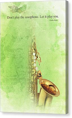 Charlie Parker Saxophone Green Vintage Poster And Quote, Gift For Musicians Canvas Print by Pablo Franchi