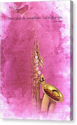 Charlie Parker Saxophone Light Red Vintage Poster And Quote, Gift For Musicians Canvas Print by Pablo Franchi