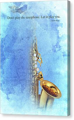 Charlie Parker Saxophone Vintage Poster And Quote, Gift For Musicians Canvas Print by Pablo Franchi