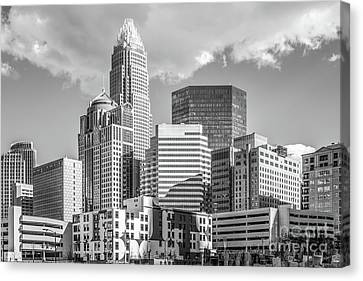 Charlotte Downtown Black And White Photo Canvas Print by Paul Velgos