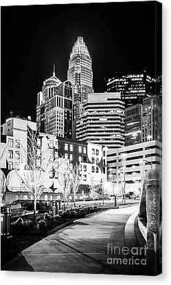 Charlotte Nc At Night Black And White Photo Canvas Print by Paul Velgos