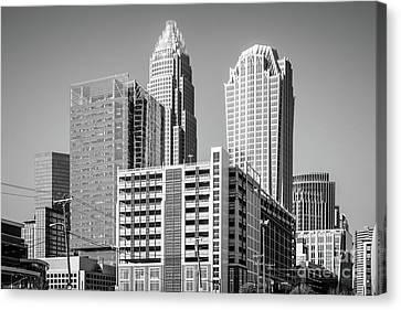 Charlotte North Carolina Black And White Photo Canvas Print by Paul Velgos