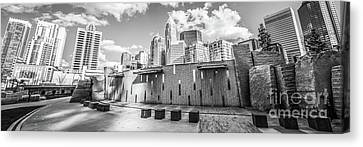 Charlotte Panorama Black And White Photo Canvas Print by Paul Velgos