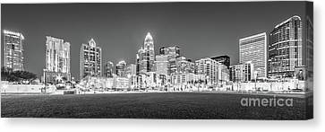 Charlotte Skyline At Night Panorama In Black And White Canvas Print by Paul Velgos