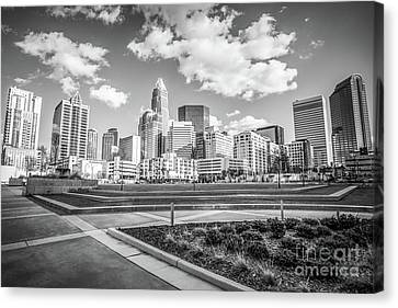 Charlotte Skyline Black And White Image Canvas Print by Paul Velgos
