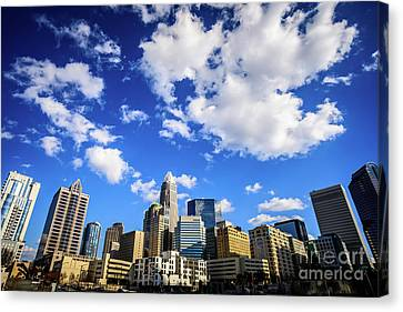 Charlotte Skyline Blue Sky And Clouds Canvas Print by Paul Velgos