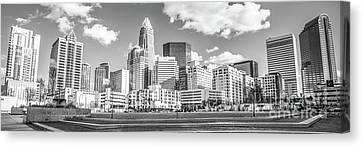 Charlotte Skyline Panorama Black And White Image Canvas Print by Paul Velgos