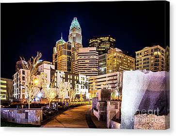 Charlotte Skyline With Romare Bearden Park At Night Canvas Print by Paul Velgos