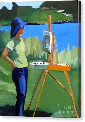 Charyl Painting At Pope John Paul II Park Canvas Print by Deb Putnam