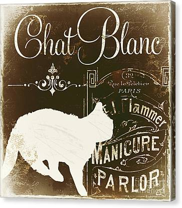 Chat Blanc Canvas Print by Mindy Sommers