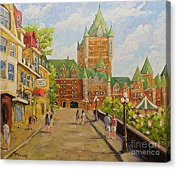 Chateau Frontenac Promenade Quebec City By Prankearts Canvas Print by Richard T Pranke
