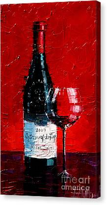 Still Life With Wine Bottle And Glass I Canvas Print by Mona Edulesco