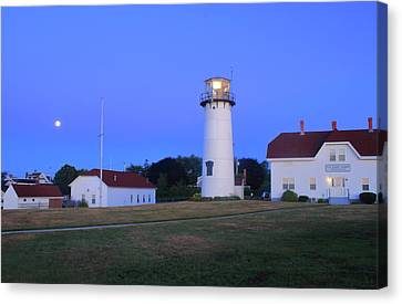 Chatham Lighthouse Moonset Canvas Print by John Burk