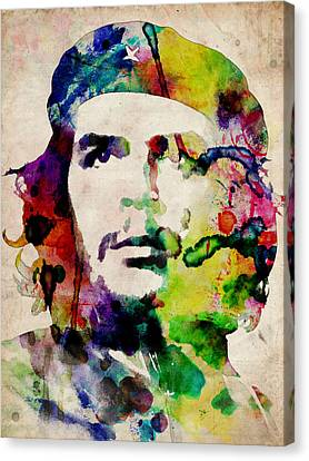 Che Guevara Urban Watercolor Canvas Print by Michael Tompsett